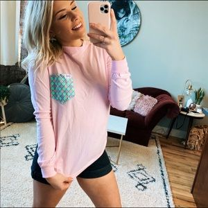 Fraternity collection pink long sleeve T-shirt